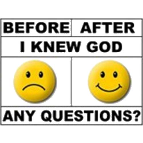 Vóór- en nadat ik God leerde kennen. Nog vragen?